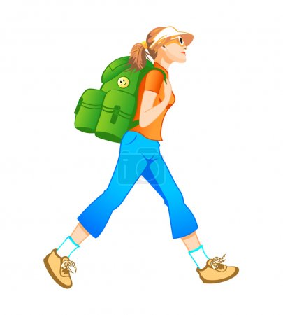 Illustration for Traveling tourist girl with backpack profile isolated - Royalty Free Image