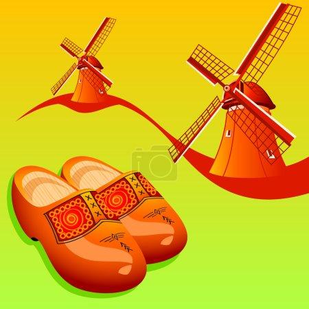 Illustration pour Chaussures hollandaises en bois (klompen) et moulins à vent - image libre de droit