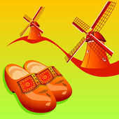 Dutch wooden shoes (klompen) and windmills