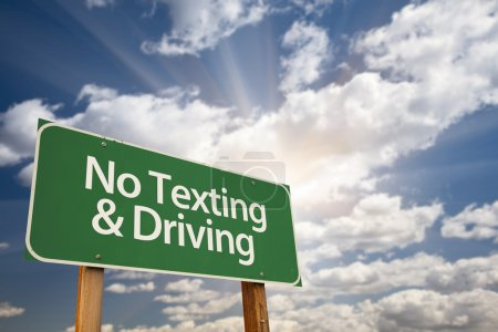 No Texting and Driving Green Road Sign