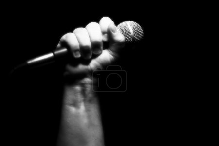 Grayscale Microphone in Fist