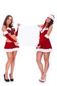 Santa women holding a blank board
