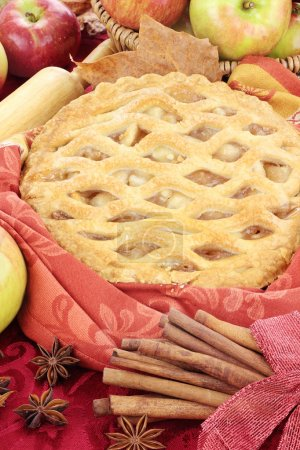 Delicious fresh baked apple pie with ingredients. ...