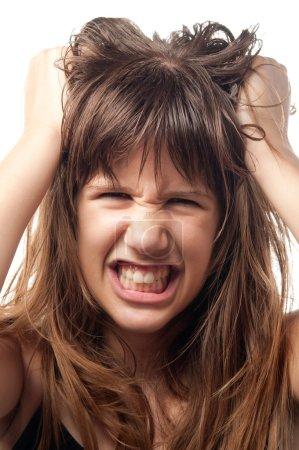 Angry and frustrated teenage girl