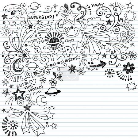 Inky Scribble Marker Superstar Doodles Vector