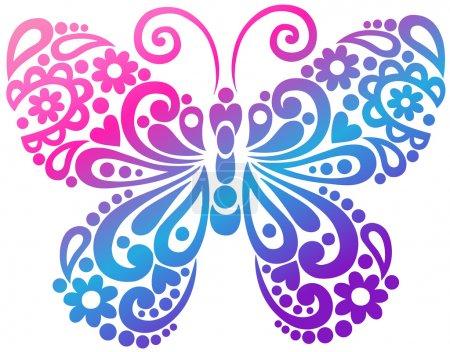 Illustration pour Illustration d'élément de conception de vecteur de tatouage de papillon tourbillonnant - image libre de droit
