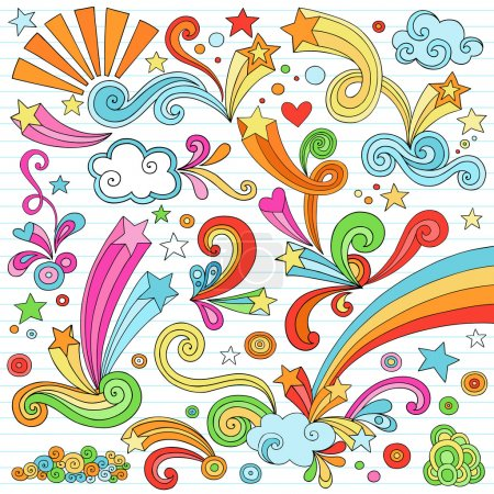 Illustration for Hand-Drawn Psychedelic Rainbow Notebook Doodle Vector Illustration Design Elements with Hearts, Stars, and Swirls on Lined Notebook Paper Background - Royalty Free Image
