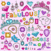 Hand-Drawn Princess Notebook Doodle Vector Illustration Design Elements with Heels Jewelry Diamonds Tiaras on Lined Notebook Paper Background