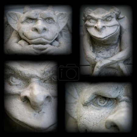 Gargoyle Statue Collage with a Dark Border