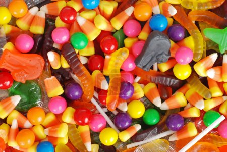Photo for Macro of mixed halloween candy background - Royalty Free Image
