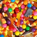 Macro of mixed halloween candy background