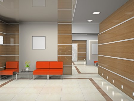 Photo pour Hall, un bureau modern (3d) - image libre de droit