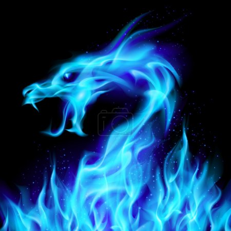 Illustration for Abstract blue fiery dragon. Illustration number two on black background for design - Royalty Free Image