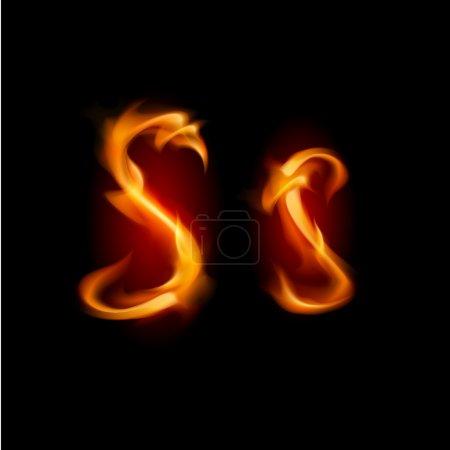 Fiery font. Letter S. Illustration on black backgr...