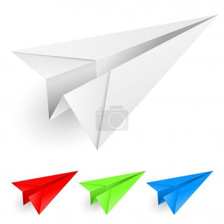 Illustration pour Avions en papier coloré. Illustration sur fond blanc pour le design . - image libre de droit