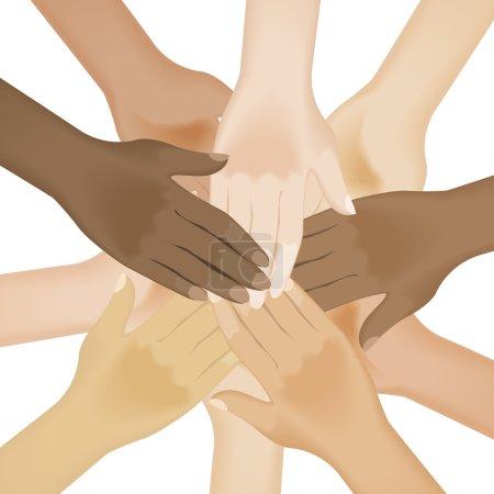 Multiracial human hands