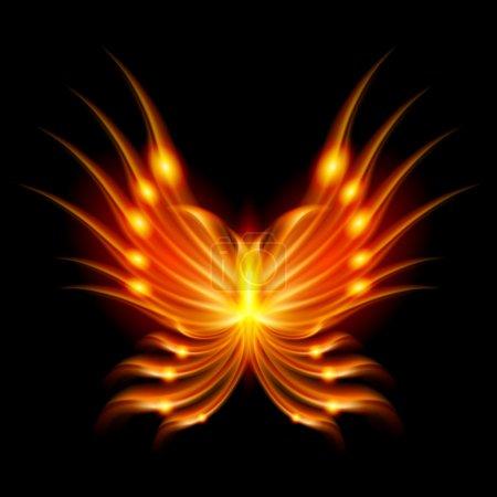 Flying butterfly with fiery wings