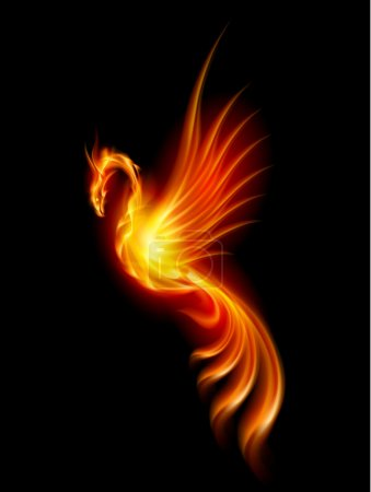 Illustration for Burning Phoenix. Illustration isolated over black background - Royalty Free Image