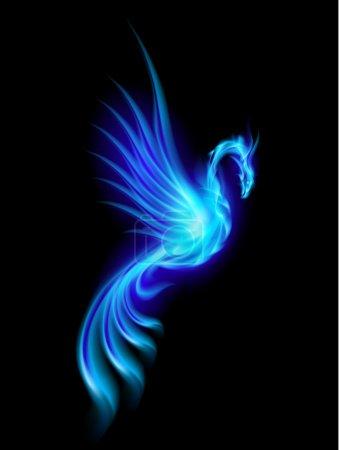 Illustration pour Phoenix bleu brûlant isolé sur fond noir - image libre de droit