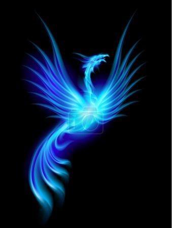 Illustration for Beautiful Blue Burning Phoenix. Illustration isolated over black background - Royalty Free Image