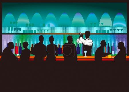 Illustration pour Bar et barman - image libre de droit
