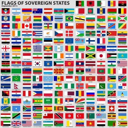 Illustration for Vector set of Flags of world sovereign states (September 2011). New flags of Libya, South Sudan, Myanmar, Malawi. - Royalty Free Image
