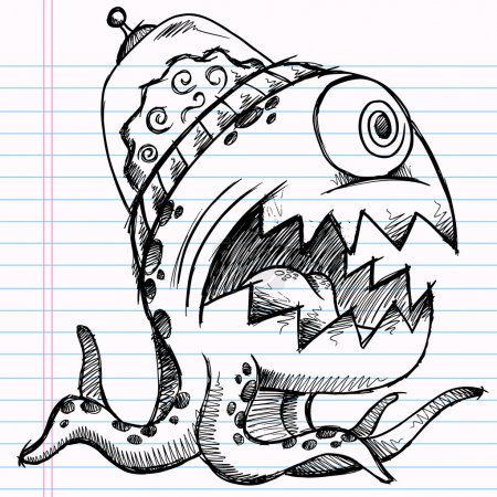 Illustration pour Monstre extraterrestre de croquis doodle de portable vector illustration art de dessin - image libre de droit