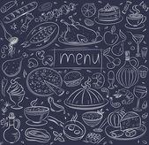 Food sketch on black