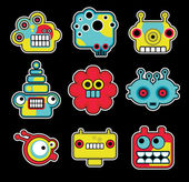 Cartoon robots and monsters faces in color Vector illustration set