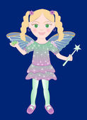 Vector of cute little Fairy girl with wand and Flowers