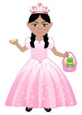 Vector of a cute girl in a Pink Princess Costume