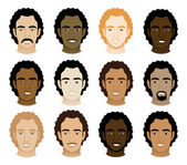 Vector Illustration of 12 different Curly Afro Men Faces