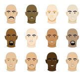 Vector Illustration of 12 different Bald Men Faces