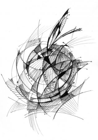 Abstract drawing black ink - Apple
