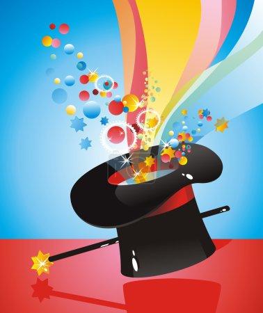 Illustration pour Chapeau de soie magicien avec une canne magique - image libre de droit