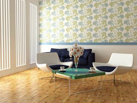 Foto de Brillante diseño de interiores de la moderna sala de estar con sillones blancos, mesa y hermosas flores, 3d render - Imagen libre de derechos