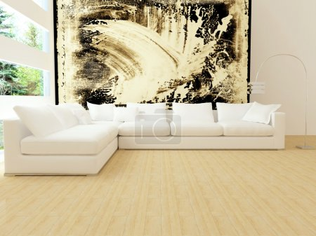 Photo for Interior design of modern white living room with big white sofa, big lounge, 3d render - Royalty Free Image