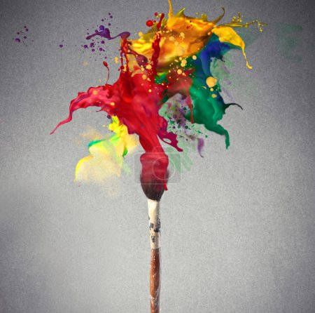 Photo for Paintbrush splashing colored paint - Royalty Free Image