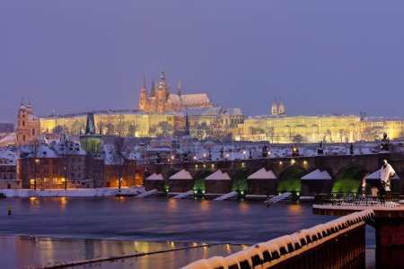 Hradcany with Charles bridge in winter, Prague, Czech Republic