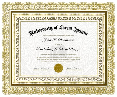 Vector Ornate Diploma and Frame