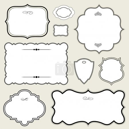 Illustration for Vector Ornate Rounded Frame Set. Easy to edit. Perfect for invitations or announcements. - Royalty Free Image