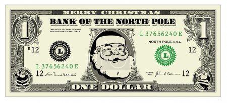 Vector Santa One Dollar Bill