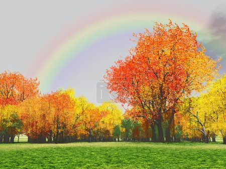 Photo for Autumn scenery with rainbow - Royalty Free Image