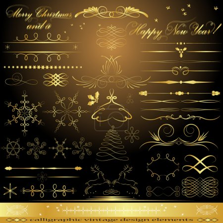 Illustration for Calligraphic golden design elements - Royalty Free Image