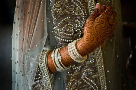 Detail shot of henna on Indian bride