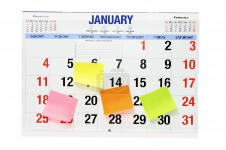 Photo for Calendar with Adhesive Note Papers on White Background - Royalty Free Image
