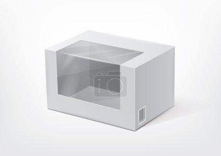 Illustration pour Boîte en carton avec une fenêtre en plastique transparente pour la nouvelle conception - image libre de droit