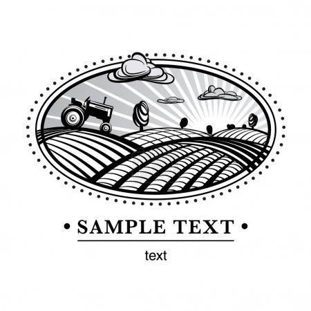 Illustration for Agriculture landscape engraving style illustration - Royalty Free Image