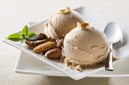 Photo for Fresh hazelnut ice cream on plate close up - Royalty Free Image
