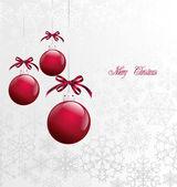 Red Christmas Balls on Christmas card Vector
